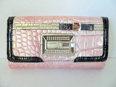 Guess Boudoir Pink Patent Wallet Rhinestones Bow  Clutch #GUESS #Clutch