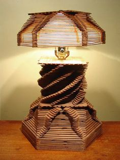 "Folk Art Lamp made with Popsicle Sticks.C H 19 "" and W Popsicle Stick Crafts For Adults, Popsicle Stick Art, Popsicle Crafts, Craft Stick Crafts, Crafts To Make, Wood Crafts, Crafts For Kids, Clothespin Crafts, Craft Sticks"