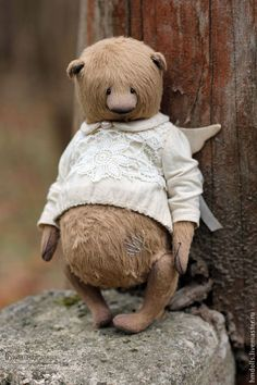 Купить Ангел - коричневый, бежевый, сливочный, молочный, мишка, тедди, мишки тедди, авторский мишка