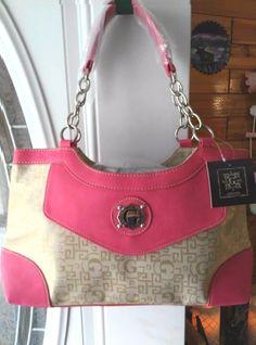 Womans Handbag Purse Neon Fuchsia Faux Leather Chain Strap Geometric Design  #GStyle #ShoulderBag