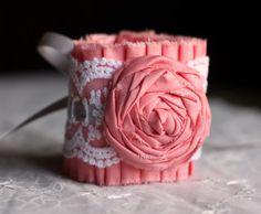 Lace Bracelet Ruffle Cuff in Pink- Bridal Bracelet, Vintage Inspired Bracelet, Rocker Chic Cuff, Bridesmaid Bracelet, Prom Wrist Corsage