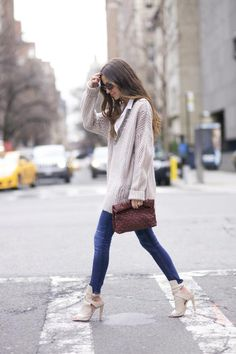 J Brand Jeans + Oversized Knit Sweater