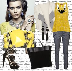 """""""Yellow and black"""" by applegirl ❤ liked on Polyvore"""
