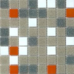 Mosaic glass tile blend modwalls orange, gray and white Brio Atomic Ranch Midcentury Palette