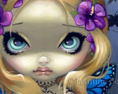 Faces of Faery 133 butterfly flower tattoo big eye fairy face art print by Jasmine Becket-Griffith 6x6