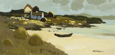"""""""Curach, Mannin Bay"""" by Donald McIntyre Landscape Art, Landscape Paintings, Landscapes, Kyffin Williams, Royal Society, Travel Posters, Scotland, Ireland, Beautiful Pictures"""