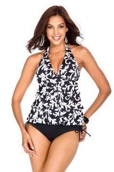 Caribbean Joe Entwined Layered Halter Top Tankini. Color black and white, entwined print. This swim suit top has a shelf bra and padded cups. Mix and match bathing suits. Each piece is sold separately. Style # 860680. Caribbean Joe Entwined Layered Halter Top Tankini.