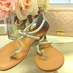 Light Blue Sandals! ☄ Beautiful light blue sandal bought from Francesca's. Size seven, worn only once (too small on me). Has zipper on back heel. Toe straps have some distortion from being packed- my guess is they would smooth out with a few wear. Offers welcome! Francesca's Collections Shoes Sandals