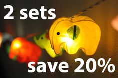 2 sets save 20 percent  for 20 x handmade Elephant zoo animal plant paper lantern string light kid bedroom light display garland colorful on Etsy, $24.80