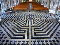 St. Quentin~The adoption of the labyrinth by the Christian faith began during the Roman period. At first the labyrinth appeared mainly in manuscripts, but during the 12th century they began to appear in cathedrals and churches in Italy and during the 13th century spread to France, ~Photo ©: Jeff Saward Labyrinthos