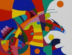 """Benjamin Harjo, Jr. was born in Clovis, New Mexico in 1945 to Seminole and Absentee Shawnee ancestry painting """"Abstraction of Life"""""""
