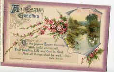 Easter postcard - Vintage Easter Postcard Cottage, swans by sharonfostervintage on Etsy