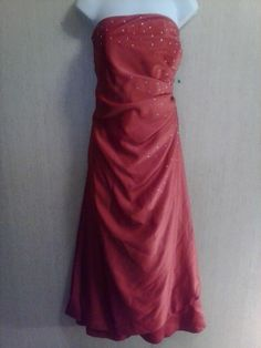 Womens Tulip Hem 2 Tone Maxi Rhinestones Formal Dress Prom Wedding Red Size 16
