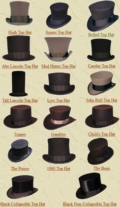 Different styles of top hats that Jack would wear for different occasions. The one in the middle, top line would be the main hat.