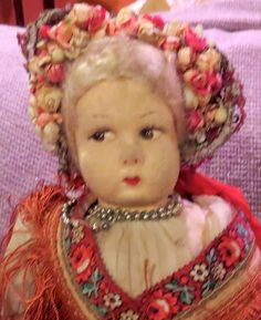 """Antique 17"""" GORGEOUS Lenci Type Cloth Doll on Great Original Body & Orig Outfit"""