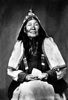 "Molly Muise, Mi'kmaq woman, Mid-nineteenth century. ""The picture is of Molly Muise who lived to a great age and was so much respected by her white neighbors that they erected a tombstone to her memory."" Her dates of birth and death are not known. This may be the earliest portrait of a Mi'kmaq by a photographic process.The name was originally the French 'Mius' and is now spelled Meuse and Muse as well."