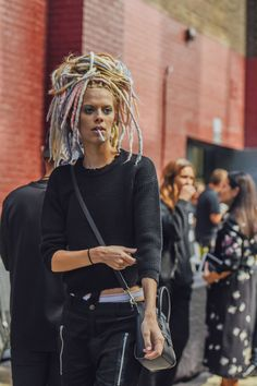 September 15, 2016  Tags Black, Pants, Women, Model Off Duty, Models, Smoking, Bags, Knitwear, Lexi Boling, Colored Hair, Ripped, Sweaters, New York, Hair, Ribbed, Céline, 1 Person, Eyes, Underwear, SS17 Women's, Dreadlocks