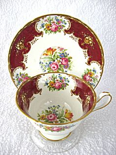 Shelley England Teacup and Saucer Duchess Maroon Gainsborough