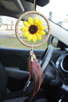 Excited to share this item from my shop: Sunflower Dreamcatcher For Car: Car Accessories, Sun Flower Gift, For Car, Car Decor, Flower Dream Catcher Car Mirror accessories mirror LAST ONE Sunflower Car Accessory Sunflower Dream Catcher Car Accessories For Girls, Truck Accessories, Diy Gifts For Girls, Dream Catcher For Car, Car For Teens, Crochet Car, Rear View Mirror, Car Mirror, Girls Mirror