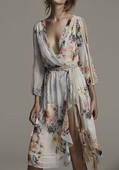White Floral Print Sashes Irregular Side Slit 3/4 Sleeve Bohemian Midi Dress