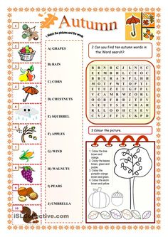 Autumn worksheet - Free ESL printable worksheets made by teachers English Test, Kids English, English Words, English Lessons, Learn English, English Class, Reading Worksheets, Vocabulary Worksheets, English Vocabulary