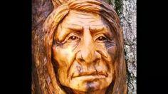 wood spirit carving - YouTube