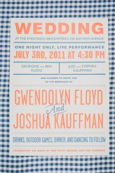 Graphic picnic-style wedding invitations shot by Mango Studios