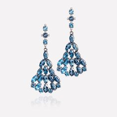 18k Black Gold with London Blue Topaz and Diamond Earrings - The Fine Finder - https://thefinefinder.com/