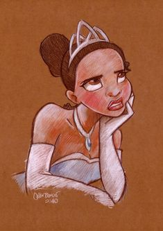 Tiana with colored pencils.