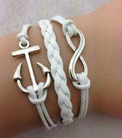 Amazon.com: Designer Inspired Multi-strand Cord Bracelet, Men, Womens, Boys or Girls Bracelet. 3pcs Anchor and Infinity Charm Bracelet. Antique Silver White Braided Charm Bracelet: Jewelry