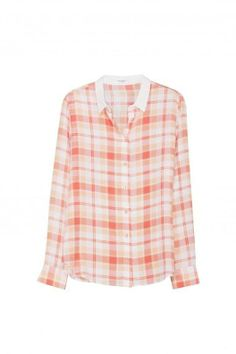 EQUIPMENT AUDREY SHIRT WITH CONTRAST COLLAR in Coral Country Plaid Print