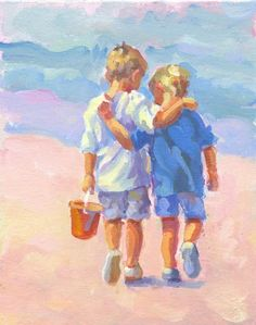 Items similar to WHEN WE WERE Young. Two boys walking along the beach acrylic painting by artist Lucelle Raad on Etsy Painting People, Painting For Kids, Painting & Drawing, Art Plage, Beach Art, Oeuvre D'art, Fine Art Photography, Watercolor Paintings, Street Art