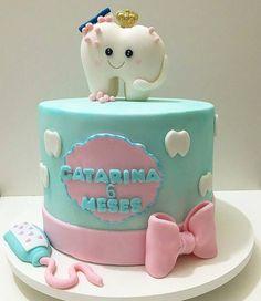 Fondant Cakes, Cupcake Cakes, Dental Cake, Sunshine Birthday Parties, Tooth Cake, Yellow Birthday, Baby Birthday Cakes, Zeina, Pastry Art