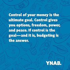 It's why #YNAB works so well because YNAB helps you gain total #control of your #money.  #youneedabudget #budget #freedom #lifestyle #worthit #peace #nostress