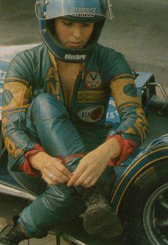 motorcycleculture:  Dane Rowe, 1960-70s British sidecar racer.