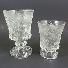 "Tiara Ponderosa Pine 2 GOBLETS - 6"" Water Wine & 4.5"" Footed Juice Tea Crystal"