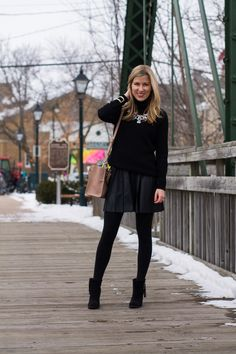 Leather Skirts in Winter! http://www.lovealwaysliv.com/2015/03/camel-black-leather-skirts-in-winter.html