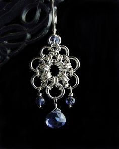 Japanese Flower Chainmaille Earrings with Iolite. $48.00, via Etsy.