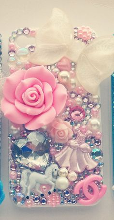 Princess themed pink and white 4 cell phone by Mimisdecopalace, $49.99