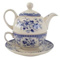 Porcelain Tea for one set - Blue Rose - Pemberley Collection Jane Austen Gift Shop, Bath Tea For One, My Tea, Jane Austen, Online Gift Shop, Teapots And Cups, How To Make Tea, Blue China, Shops, Afternoon Tea