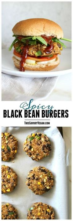 These Spicy Black Bean Burgers are simple, tasty and vegan! Make them ahead of time and keep them in the freezer for an easy weeknight dinner! | ThisSavoryVegan.com