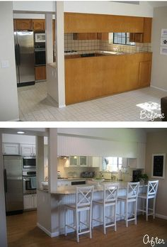 Carolyn's kitchen-bar before and after [This might be a good layout for a remodel in my own kitchen. -UDG]
