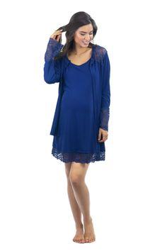 CAMISOLA GESTANTE COM ROBE MANGA LONGA COM RENDA Kaftan, Vestido Casual, Cold Shoulder Dress, Tunic Tops, Pretty, Dresses, Women, Fashion, Women's Sleepwear