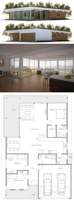 Home Plan : Home Plans, House Plans, Architecture, House Designs Contemporary House Plans, Modern House Plans, Small House Plans, Modern House Design, Architecture Design, Minimalist Architecture, Plans Architecture, Modern Minimalist House, Small Modern Home