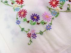 Hand embroidered tablecloth, floral, cotton linen, square, off-white / cream by BlindDogVintage on Etsy