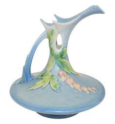 Roseville Pottery Bleeding Heart Blue Ewer 963-6