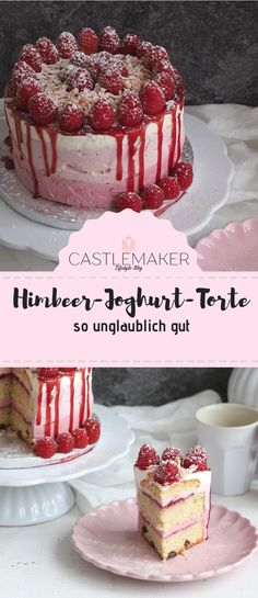 Himbeer-Joghurt-Torte - Mit dieser leckeren Himbeer-Joghurt-Torte im Ombre Look läute ich mal ganz heimlich den Frühling - Raspberry Yoghurt Cake, Yogurt Cake, Chocolate Chip Recipes, Homemade Chocolate, Chocolate Cake, Drip Cakes, Easy Cake Recipes, Dessert Recipes, Food Cakes
