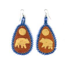 Image of Makwa Birch Earrings (Full Moon) - Blue