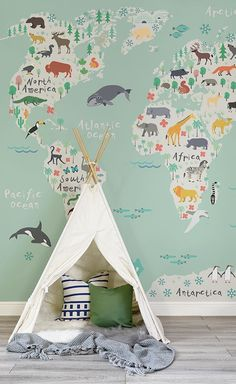 Venture around the globe with this beautiful map mural. An illustrative map decorated with charming animals in their native continents is a lovely way to introduce the world to your little one. Set against a wonderfully refreshing mint green, it's a versa Playroom Design, Playroom Colors, Wall Colors, Nursery Inspiration, Color Inspiration, Nursery Decor, Map Nursery, Nursery Room, Nursery Wall Murals