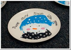 """There's Snow Place Like Home"" - cute, cute, cute! Used plates from the dollar store, sharpie, and sealed with clear, acrylic. Great Christmas present for students to make."